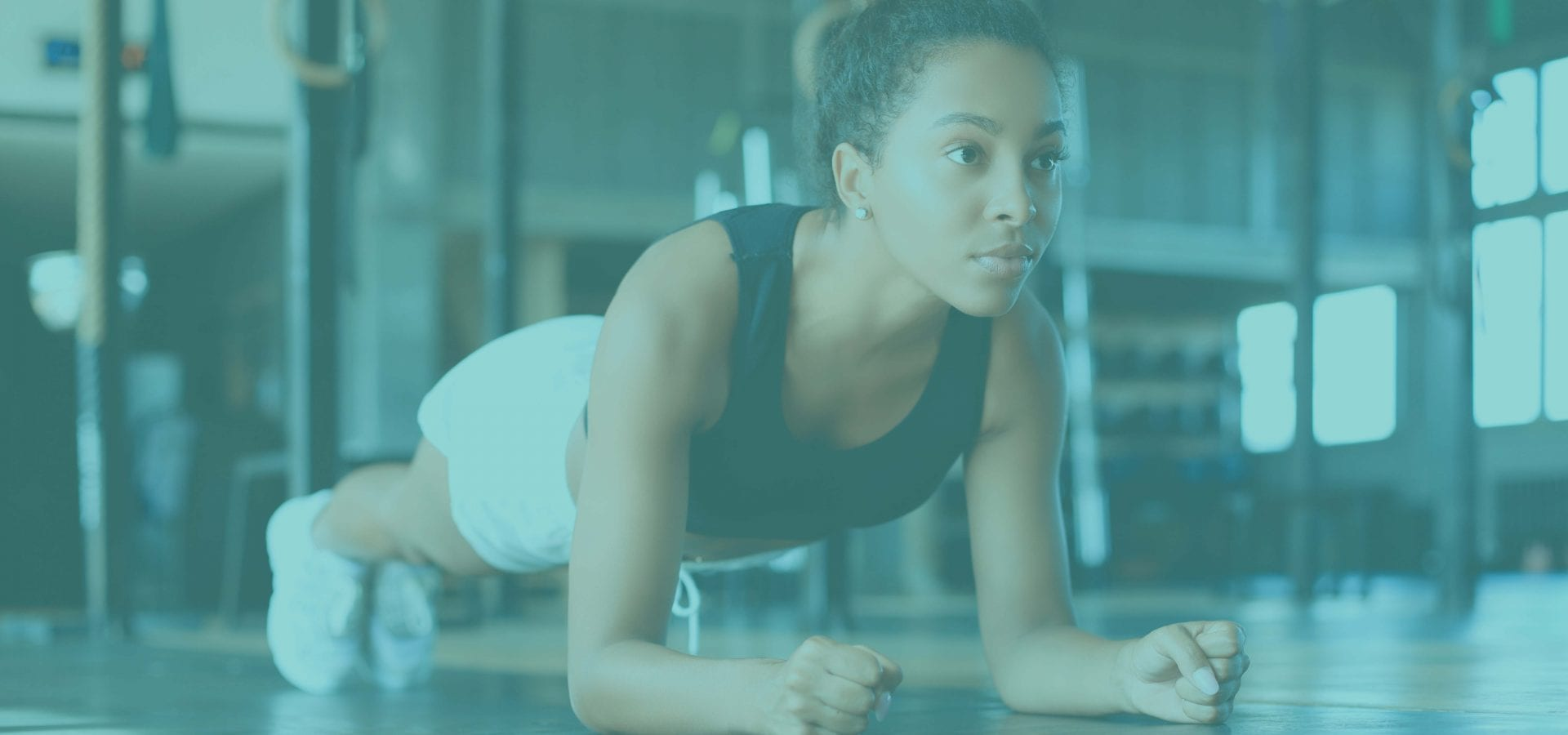 Woman in a plank exercise position