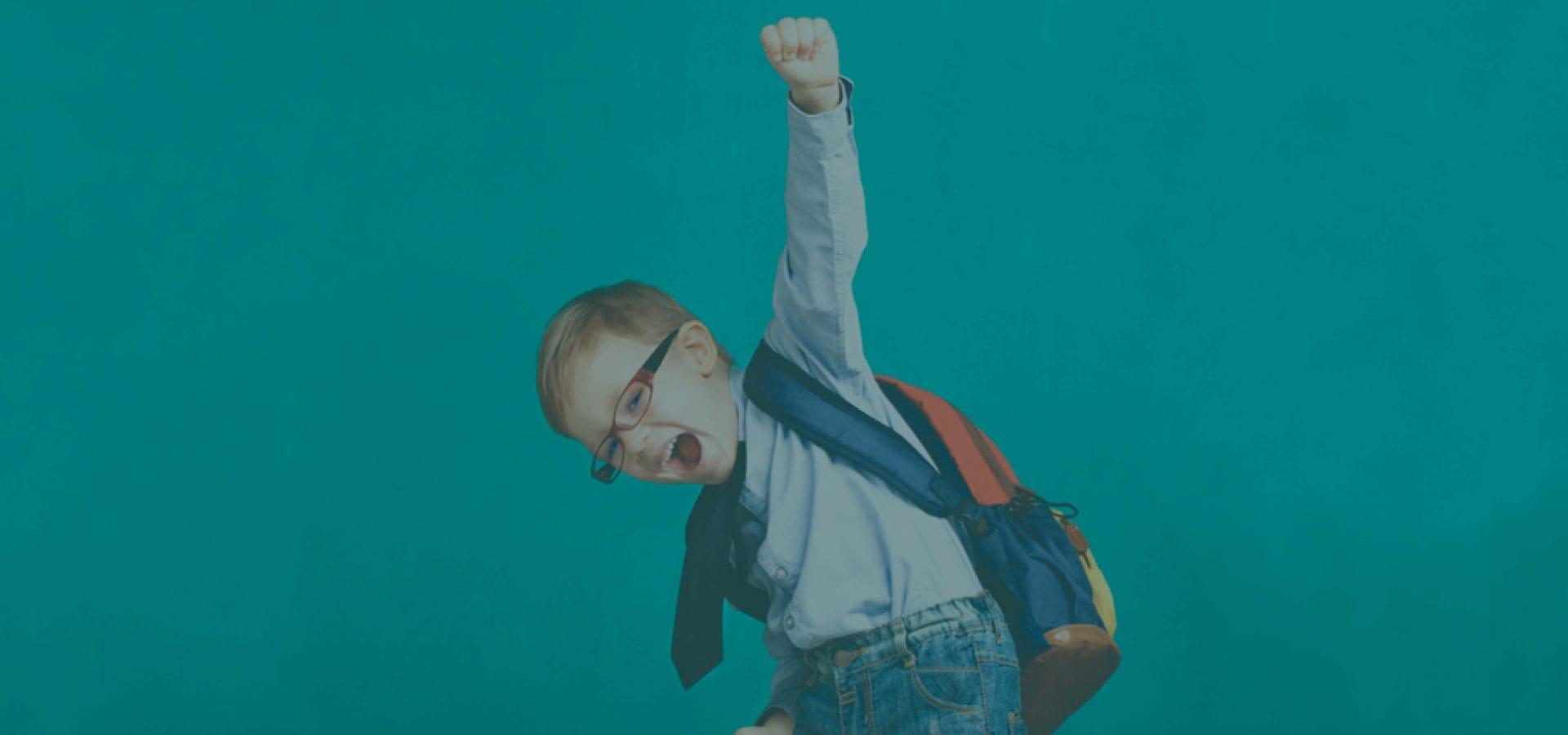 YMCA school kid with backpack